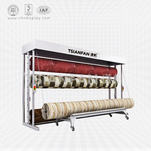 HIGH-GRADE CARPET STORE DISPLAY RACK,ROLLING CARPET RACK-CJ2009