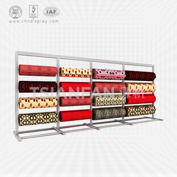 CARPET STORE DISPLAY STAND,ROLLING CARPET RACK-CJ2005