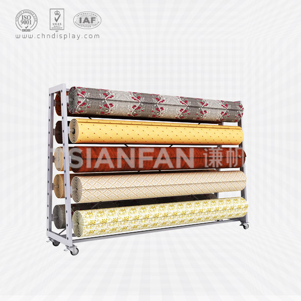 THREE ROWS OF TWO CARPET DISPLAY STAND,ROLLING CARPET RACK-CJ2004