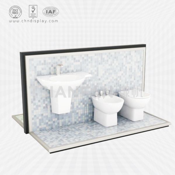 CLEAN BODY IMPLEMENT METAL DISPLAY SHELF SANITARY WARE EXHIBITION STAND BATHROOM TOILET COVER DISPLAY RACK-VM2007