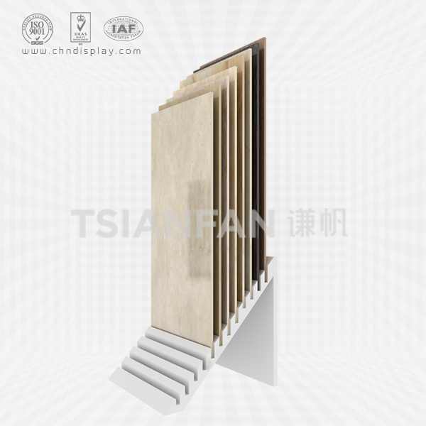 HOT SELLING FLOOR MDF MATERIAL TILT 30° 12 ROW SIMPLE TILE DISPLAY RACK E2039