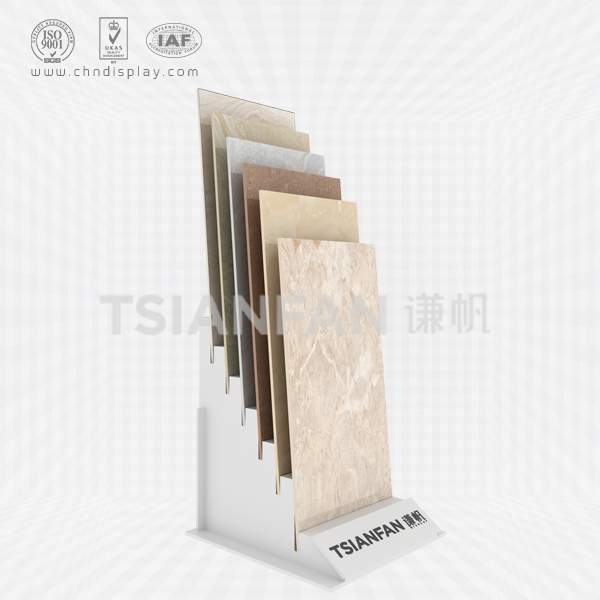 HIGH QUALITY FLOOR-INCLINED 6-ROW INSERT SMALL PRINTABLE LOGO SIMPLE TILE DISPLAY RACK E2062