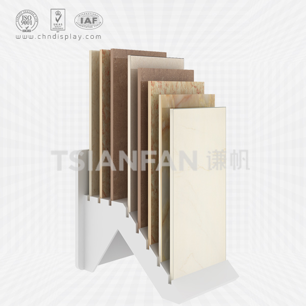 HOT WHOLESALE 8 ROWS OF FLOOR-MOUNTED INCLINED SMALL TILE DISPLAY RACK E2060
