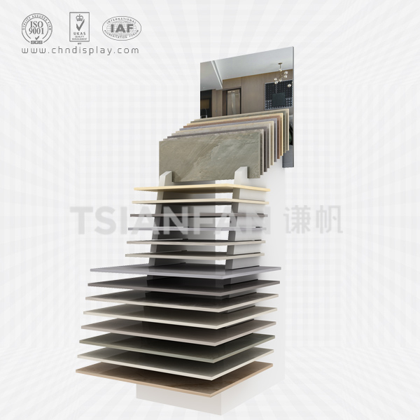 FASHIONABLE MULTI-FORMAT FLOOR TYPE MEDIUM TILE DISPLAY RACK E2064