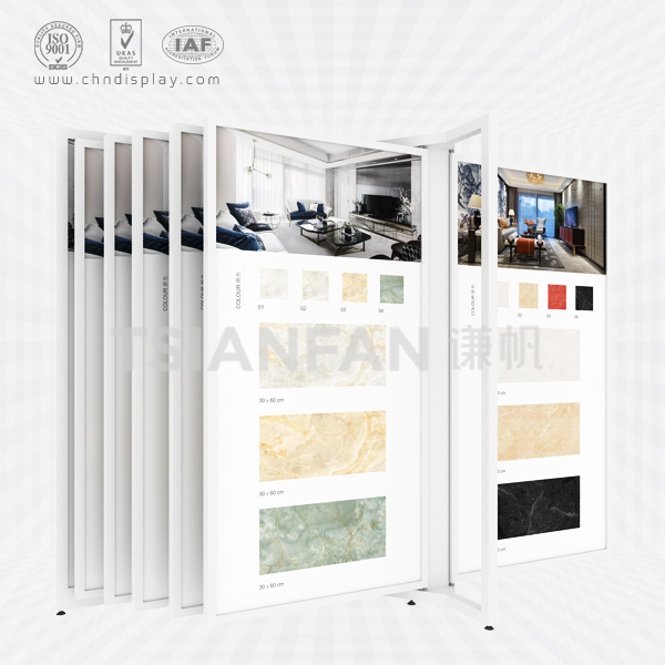 HOT SALE TILE TYPE LARGE-SIZED DOUBLE IRON FRAME SIMPLE FLIP-TYPE DISPLAY RACK CF2061