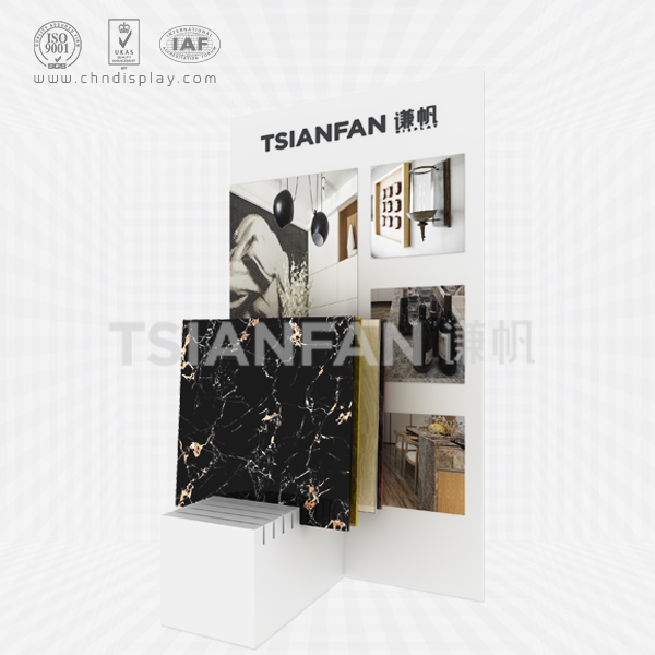 HOT MANUFACTURE TILE FLOORING STEEL MEDIUM PRINTABLE LOGO AND STICKER PEARL WHITE SIMPLE DISPLAY STAND E2144