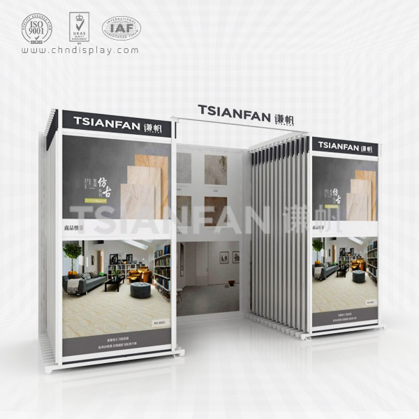 TWO COLUMNS CERAMIC TILE SHOWROOM DISPLAY CABINETS,DIAGONAL PULL OUT STYLE-CT2019