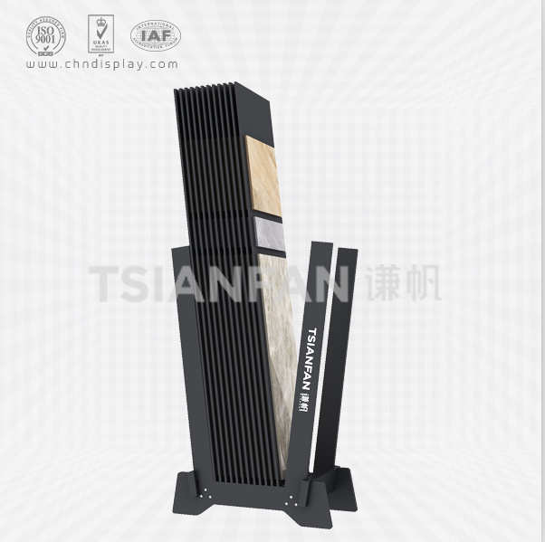 FASHIONABLE TILE FLOOR STEEL SMALL PRINTABLE LOGO HIGH-END BLACK SIMPLE DISPLAY RACK E2142