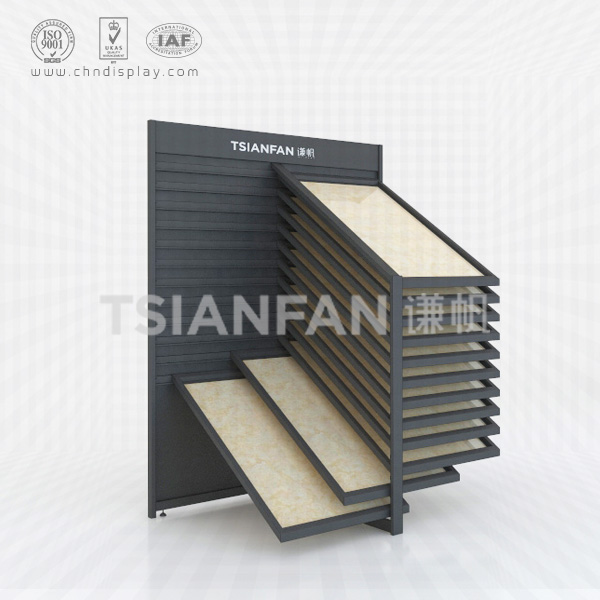 BLACK RECLINING TILE SAMPLE DISPLAY SHELF,12 LAYERS-CX2006