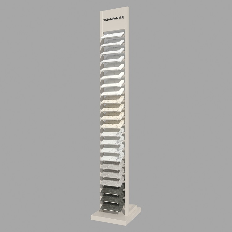 Simple Quartz Stone and Porcelain Tile Sample Tower Stand-SRL018