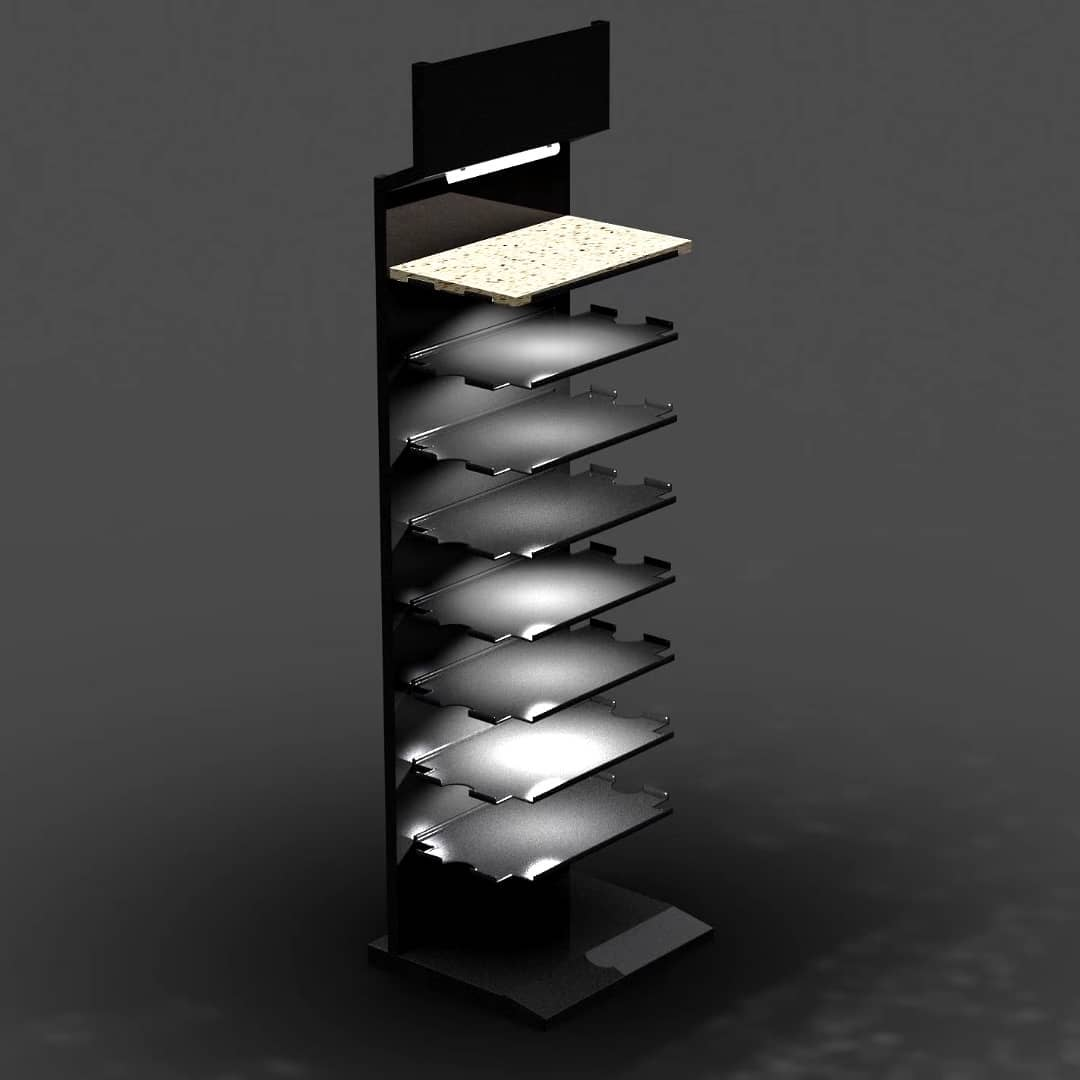 High-end Fashion Marble Granite Display Stand Rack With Lighting SW108