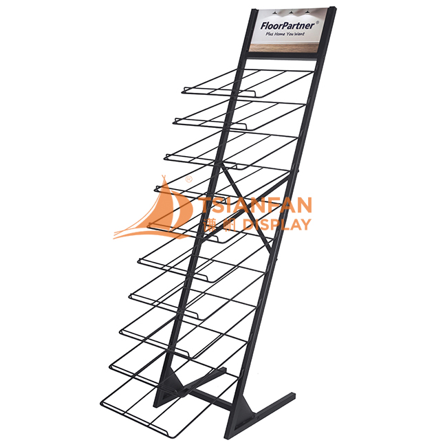 Customizable Quartz Stone Tile Marble Black Metal Floor Display Stand-WE008