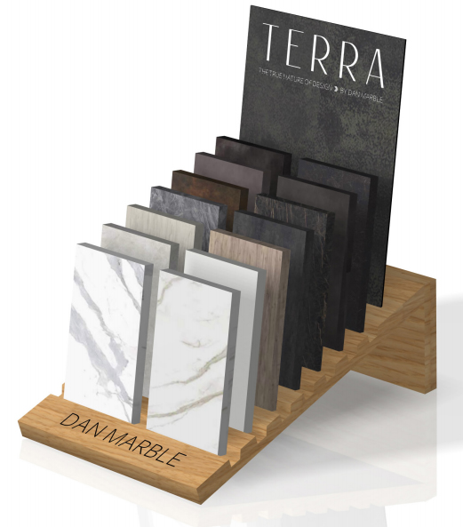 Wooden Floor Tile Simple Display Stand With Slot Laminated Wooden Shelf-E039